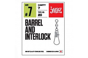 Вертлюги c застежкой LJ Pro Series BARREL AND INTERLOCK Black 007 7шт.