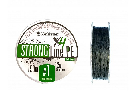 Плетеный шнур Mottomo Strong Line PE Dark Green #1.0/6kg 150m